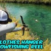 DIY Homemade Clothes Hanger BOWFISHING REEL!